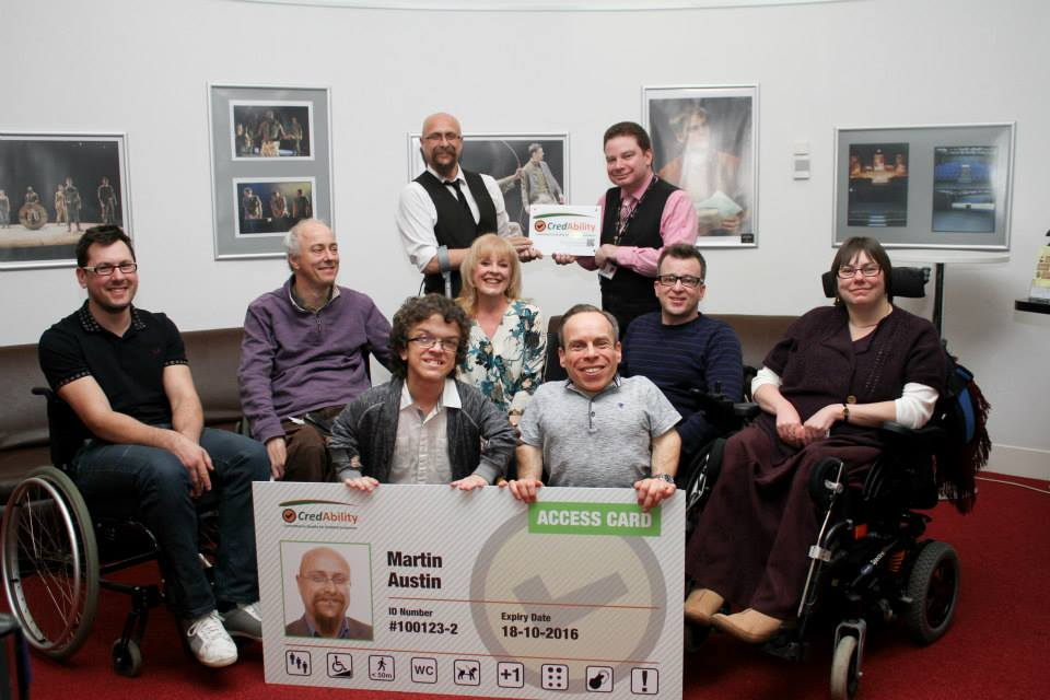 warwick davis with some of the current Access Card Holders Celebrating Derby Theatres successful CredAbility Accreditation